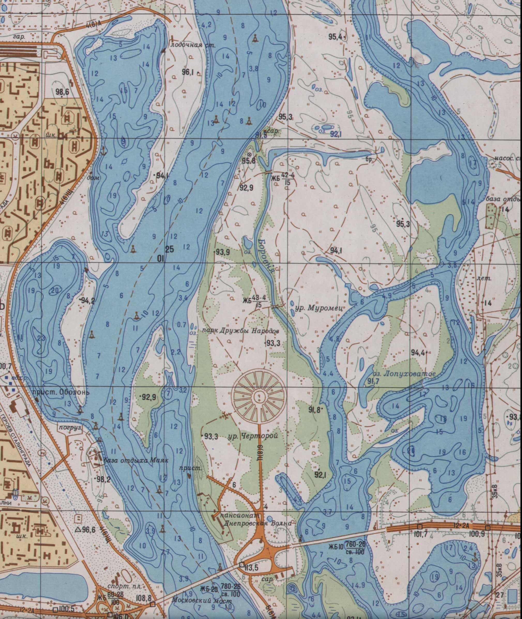 карта реки днепр с глубинами для рыбалки